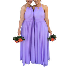 Simple Halter Neck Full Length Pleated Chiffon Bridesmaid/ Evening Dresses with Keyhole