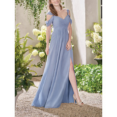 Perfect Straps Exposed-Shoulder Pleated Chiffon Bridesmaid Dresses with Side Slit