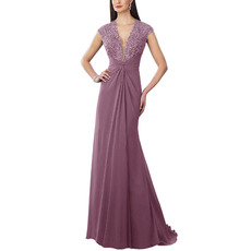 Shimmering Beaded V-Neck Chiffon Maxi Bridesmaid Dresses with Twist Drape Detail