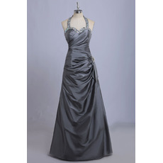 Shimmering Beaded Sweetheart Taffeta Evening Dresses with Sexy Open Back and Asymmetric Draping