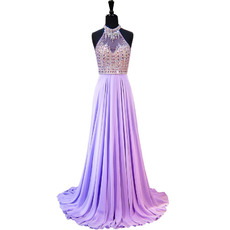 Shimmering Halter-neck Chiffon Evening Dresses with Rhinestone Beading Bodice and Sexy Keyhole Back