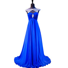 Gorgeous Round/Scoop Neckline Pleated Chiffon Evening Dresses with Rhinestone Beading Bodice and Keyhole