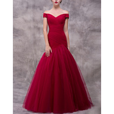 Elegance Mermaid Off-The-Shoulder Pleated Tulle Evening Dresses with Crossover Draped Bodice