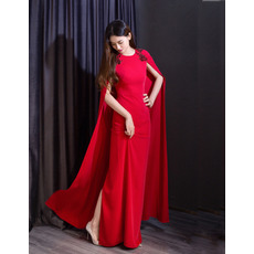 Elegance Split Back Hem Chiffon Evening Dresses with Long Cape