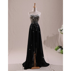 Sparkle & Shine Beaded Rhinestone Sweetheart Chiffon Evening Dresses with High Low Asymmetrical Hem