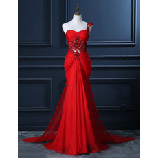 Sexy One Shoulder Chiffon Evening Dresses with Crystal Beaded Floral Applique Illusion Waist