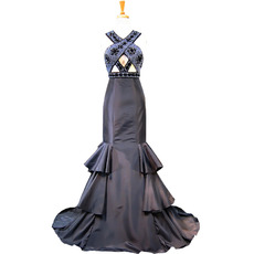 Sexy and Twinkle Beaded Black Cut Out Prom Evening Dresses with Mermaid Layered Skirt
