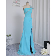 Stylish Beaded Backless Prom Evening Dresses with Asymmetrical Ruching and Split Skirt