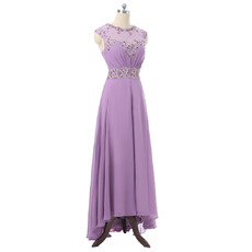 Elegantly Beading Illusion Lace Neckline Prom Evening Dresses with Asymmetrical Hem Skirt