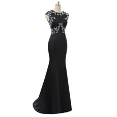 Dramatic Round/Scoop Neckline Black Prom Evening Dresses with Beaded Bodice and Open Back