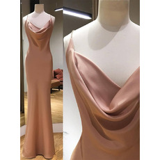Simle Slender Straps Satin Evening Dresses with Cowl Neck and Sexy Backless