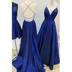 Simle Slender Straps Taffeta Evening Dresses with Deep V-neck and Strappy Back