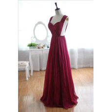 Seductive Sweetheart Neckline Backless Chiffon Evening Dresses with Pleated Bust and Skirt