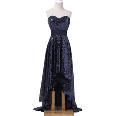 Shimmering Sweetheart Sequin Evening Dresses with High Low Asymmetrical Hem