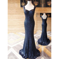 Shimmering Square Neckline Sequin Evening Dresses