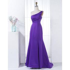 Simple One Shoulder Satin Evening Dresses with Ruched Bodice