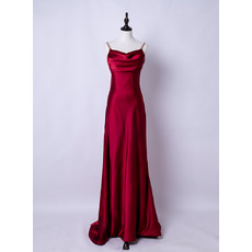 Elegance Beaded Spaghetti Straps Satin Evening Dresses with Long Chiffon Train