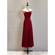 Perfect Spaghetti-strap Tea-Length Satin Evening Dresses with Cowl Neck