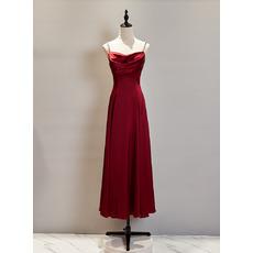 Perfect Spaghetti-strap Tea-Length Satin Evening Dresses with Cowl Neck