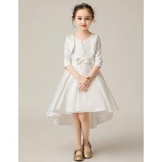 Perfect High-Low Asymmetrical Hem Knee Length Satin Flower Girl Dress with Jackets