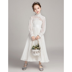 Charming Ruffled High Neck Chiffon Pleated Flower Girl Dress with Long Sleeves