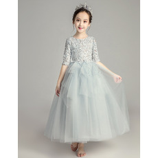 Pretty A-Line Lace Bodice Little Girls Party Dress with Half Sleeves
