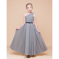 Discount A-Line One Shoulder Ankle Length Chiffon Flower Girl Dress with Ruched Bodice