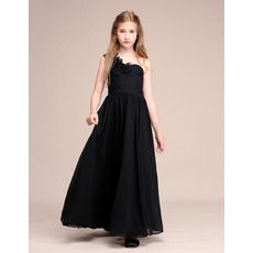 Beautiful Ruffled One Shoulder Pleated Chiffon Junior Bridesmaid Dress