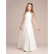 Affordable Ivory V-back Long Length Chiffon Junior Bridesmaid Dress with Pleated Waist