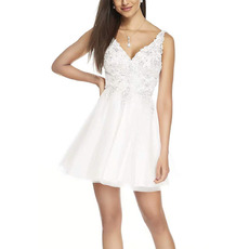 Dramatic Beaded Appliques Bodice V-Neck Short Homecoming/ Graduation Dresses with Strappy Back