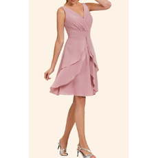 Simple A-Line V-Neck Chiffon Layered Skirt Homecoming Dresses with Split-front Overlay