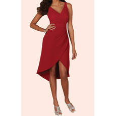 Cheap Simple V-Neck Sleeveless Chiffon Party Dresses with Asymmetrical Pleated