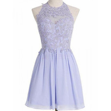 Classy Halter-neck Short Chiffon Homecoming Dresses with Beading Appliques Bodice