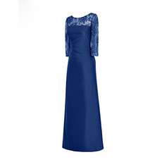 Elegant Lace Neckline Full Length Satin Mother Dresses with 3/4 Long Sleeves