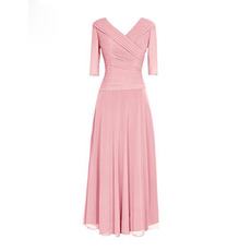Elegant Ruched Bodice Surplice V-neckline Full Length Chiffon Mother Dress with 3/4 Long Sleeves
