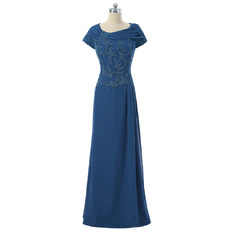 Elegant Pleated Neckline Beaded Appliques Full Length Chiffon Mother Bride Dresses with Short Sleeves