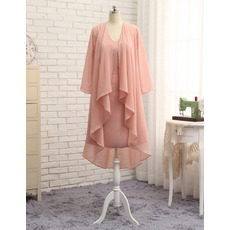 Gorgeous Beaded Column V-Neck Short Chiffon Mother Bride Dresses with Long Open-front Jacket