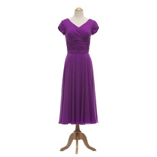Discount V-Neck Ruched Waist Short Chiffon Mother Dresses with Short Sleeves