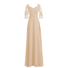 Discount Slimming Ruching Across Waist Chiffon Mother Bride Dresses with Half Sleeves