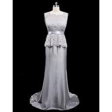Elegant Sheath V-back Sleeveless Long Length Satin Mother of the Bride Dress with Lace Peplum Waist
