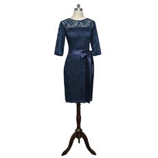 Discount Knee Length Navy Blue Lace Mother Dresses with Half Sleeves
