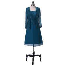 Custom Knee Length Lace Chiffon Plus Size Mother of the Groom Dress with Long Sleeves Jackets
