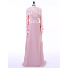Fashionable Long Chiffon Plus Size Mother Dress with Lace Crystal Open-front Jacket