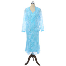 Elegant V-Neck Tea Length Lace Mother Dresses with Godet Hem Detail and Open-front Jacket