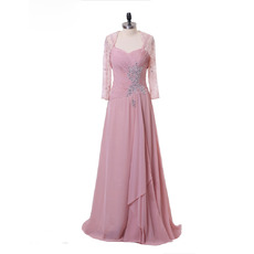Discount Spaghetti Straps Floor Length Ruching Chiffon Mother Dress with Rhinestone Lace Jackets