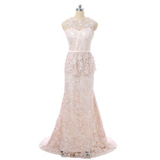 Fashionable A-Line Long Length Lace Mother Dress with Peplum Ruffle Detail at Waist