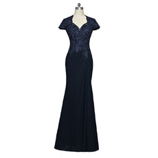 Gorgeous Delicate Beaded Lace Bodice Sheath Full Length Chiffon Mother Dress with Short Sleeves