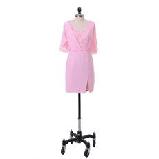 Modest Column V-Neck Short Pink Chiffon Mother Dress with Ruching Trim Capelet