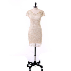 Affordable Column Double V-Neck Lace Mother Dress with Short Cap Sleeves