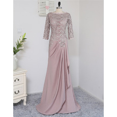 Elegant A-Line  Lace Bodice Mother Dress with 3/4 Long Sleeves
